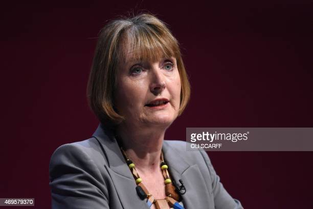 Harriet Harman the Deputy Leader of the Labour Party introduces Ed Miliband the Party leader as he launches his party's general election manifesto in...