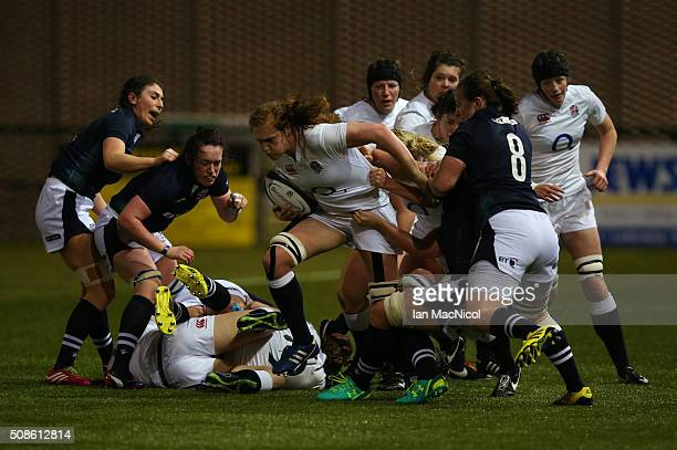Harriet MillarMills of England runs with the ball during the Scotland Women and England Women Six Nations Championship match at Broadwood Stadium on...