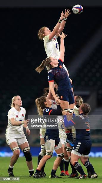 Harriet MillarMills of England wins a line out throw over Romane Menager of France during the Women's Six Nations match between England and France at...