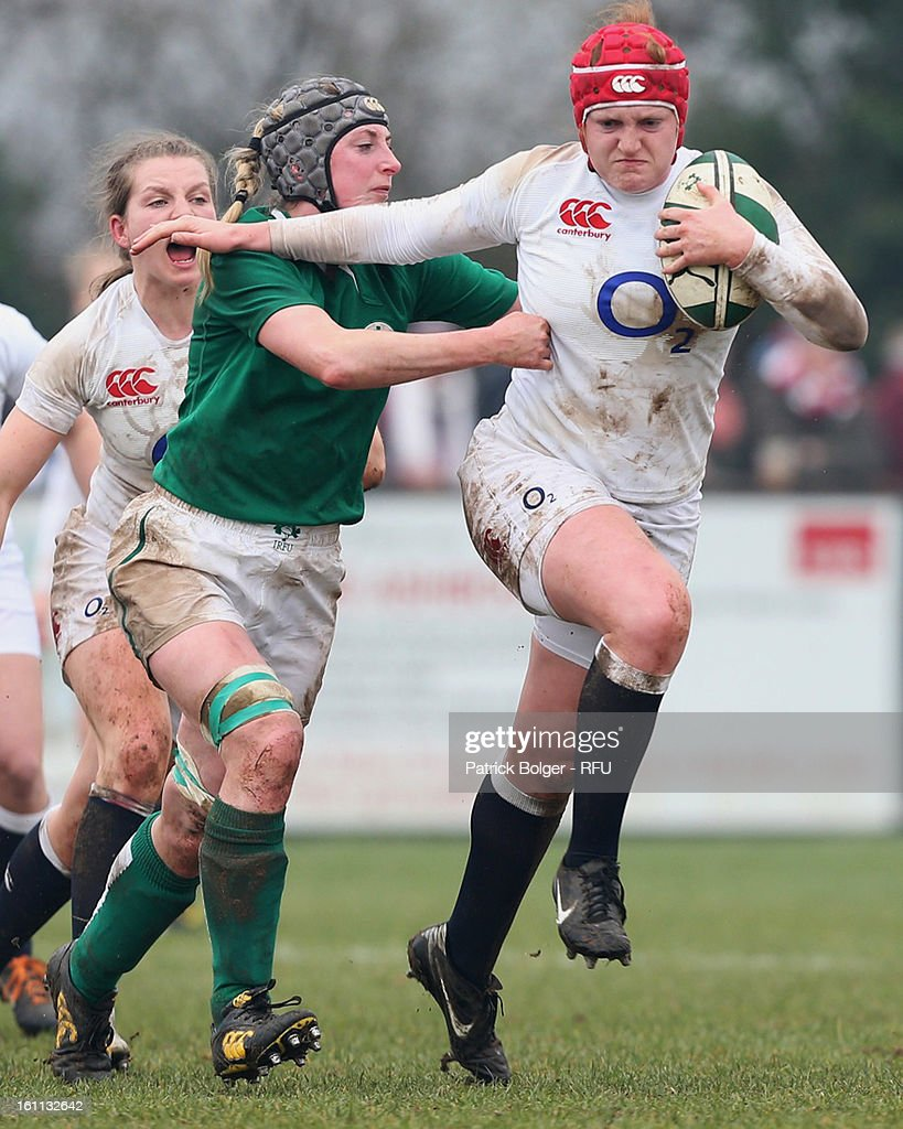 Harriet Millar-Mills of England Women in action during the Womens Six Nations match between Ireland and England and Scotland at Ashbourne RFC on February 9, 2013 in Ashbourne, Ireland.
