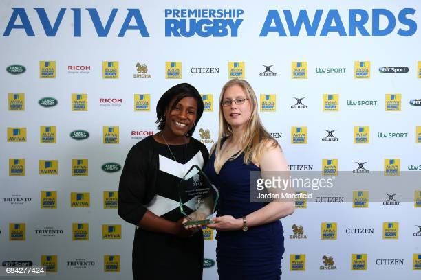 Harriet MillarMills of Lichfield is presened with the Women's Premiership Players' Player of the Year Award by Maggie Alphonsi during the Aviva...
