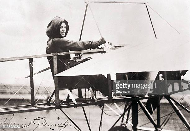 Harriet Quimby sits in the Bleriot XI that she flew across the English Channel on April 16 1912 Not only was she the first woman to accomplish this...