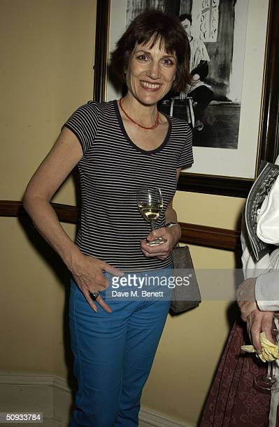 Harriet Walter attends the aftershow party following '24 Hour Plays' charity gala at the Old Vic Theatre on June 6 2004 in London Old Vic's new...