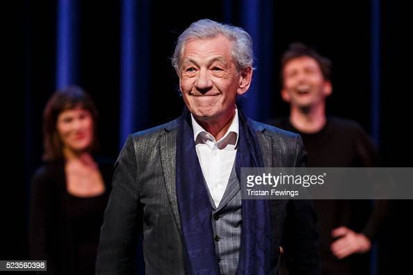 Harriet Walter Sir Ian McKellen and David Tennant perform on stage as part of a special production of Shakespeare Live from the RSC on April 23 2016...