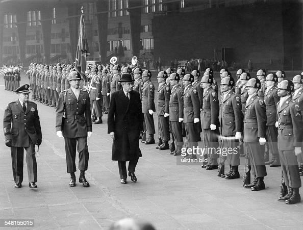 Harriman William Averell *15111891 Diplomat Politician Businessman USA Harriman visits Berlin honour guard at 'Tempelhof' airport March 1961