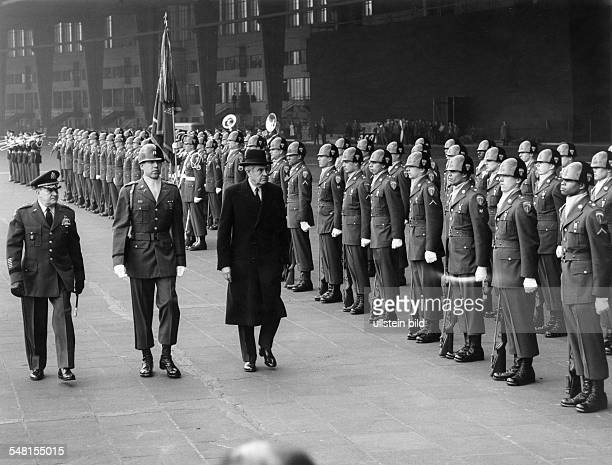 Harriman William Averell *15111891 Diplomat Politician Businessman USA Harriman visits Berlin honour guard at 'Tempelhof' airport March 1961