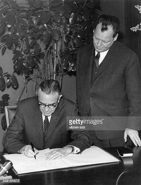 Harriman William Averell *15111891 Diplomat Politician Businessman USA Harriman visits Berlin with the mayor of Berlin Willy Brandt at 'Schoeneberg'...