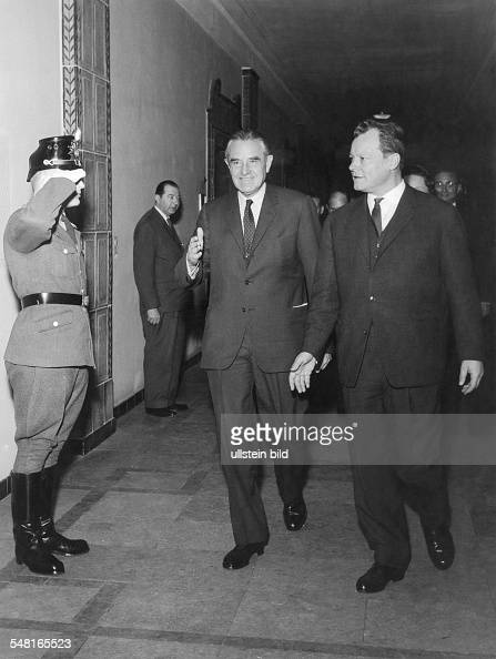Harriman William Averell *15111891 Diplomat Politician Businessman USA Harriman visits Berlin with the mayor of Berlin Willy Brandt March 1961