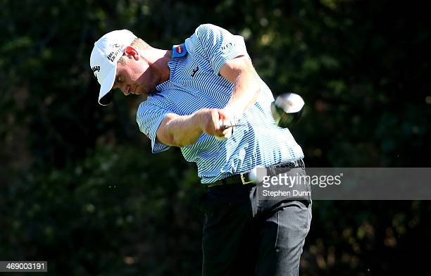 Harris English hits a tee shot on the 13th hole during practice rounds for the Northern Trust Open at Riviera Country Club on February 12 2014 in...