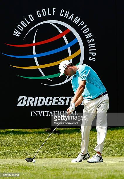 Harris English hits off the 16th tee during the first round of the World Golf ChampionshipsBridgestone Invitational at Firestone Country Club South...