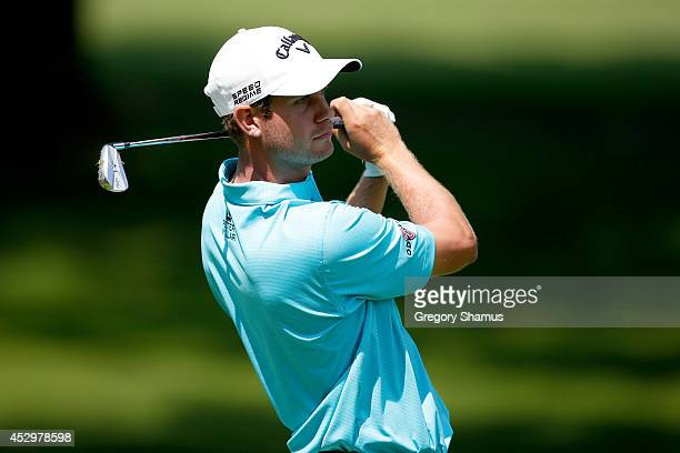 Harris English hits off the fifth tee during the first round of the World Golf ChampionshipsBridgestone Invitational at Firestone Country Club South...