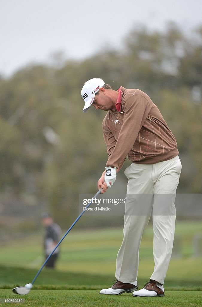 Harris English hits off the tee box during the Third Round at the Farmers Insurance Open at Torrey Pines South Golf Course on January 27, 2013 in La Jolla, California.