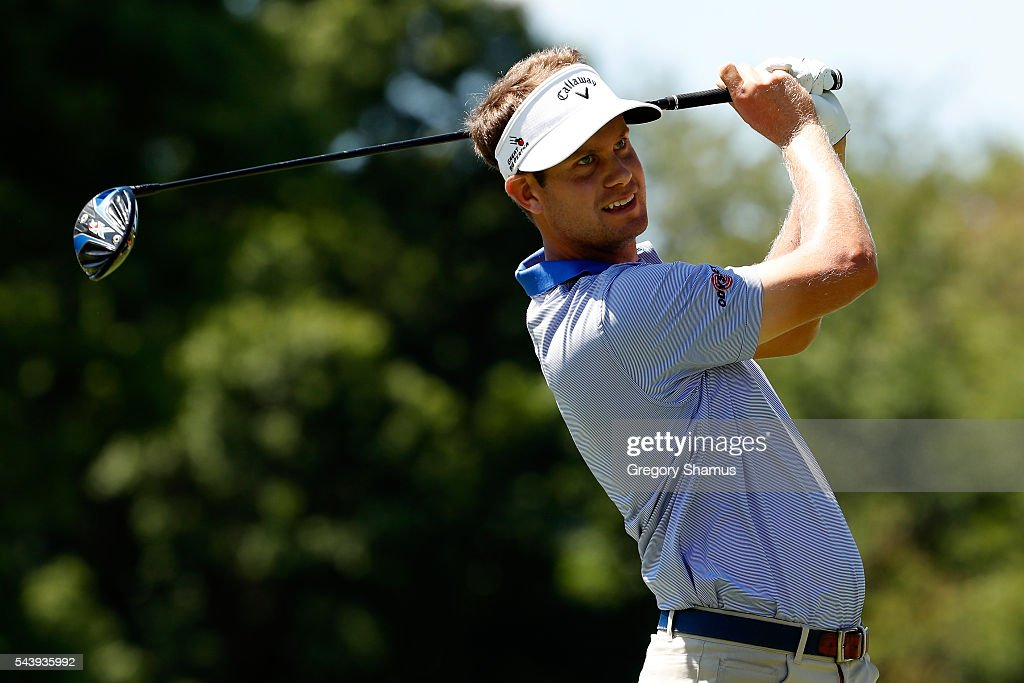 <a gi-track='captionPersonalityLinkClicked' href=/galleries/search?phrase=Harris+English&family=editorial&specificpeople=7754798 ng-click='$event.stopPropagation()'>Harris English</a> hits off the third tee during the first round of the World Golf Championships - Bridgestone Invitational at Firestone Country Club South Course on June 30, 2016 in Akron, Ohio.