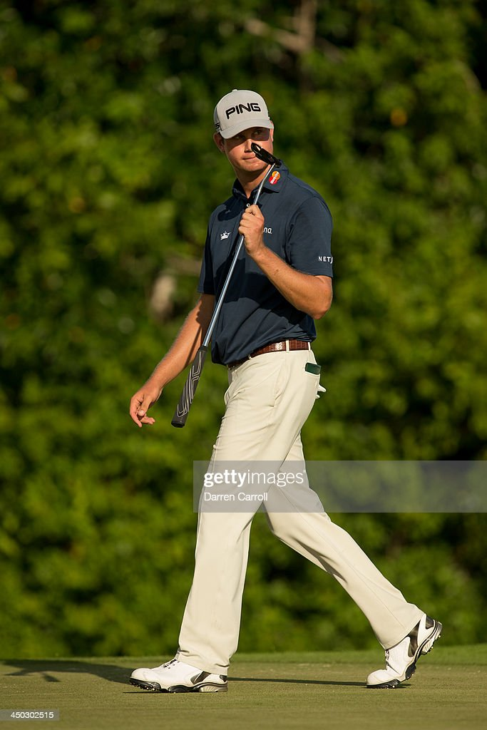 <a gi-track='captionPersonalityLinkClicked' href=/galleries/search?phrase=Harris+English&family=editorial&specificpeople=7754798 ng-click='$event.stopPropagation()'>Harris English</a> of the United States acknowledges the gallery after a putt at the 16th hole during the final round of the 2013 OHL Classic at Mayakoba, played at El Camaleon Golf Club on November 17, 2013 in Playa Del Carmen, Mexico.