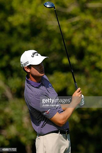 Harris English of the United States hits a tee shot on the second hole during the second round of the OHL Classic at Mayakoba on November 14 2014 in...