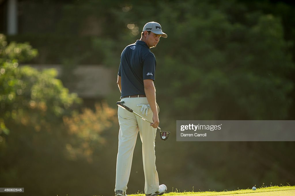 <a gi-track='captionPersonalityLinkClicked' href=/galleries/search?phrase=Harris+English&family=editorial&specificpeople=7754798 ng-click='$event.stopPropagation()'>Harris English</a> of the United States looks over a putt at the 17th hole during the final round of the 2013 OHL Classic at Mayakoba, played at El Camaleon Golf Club on November 17, 2013 in Playa Del Carmen, Mexico.