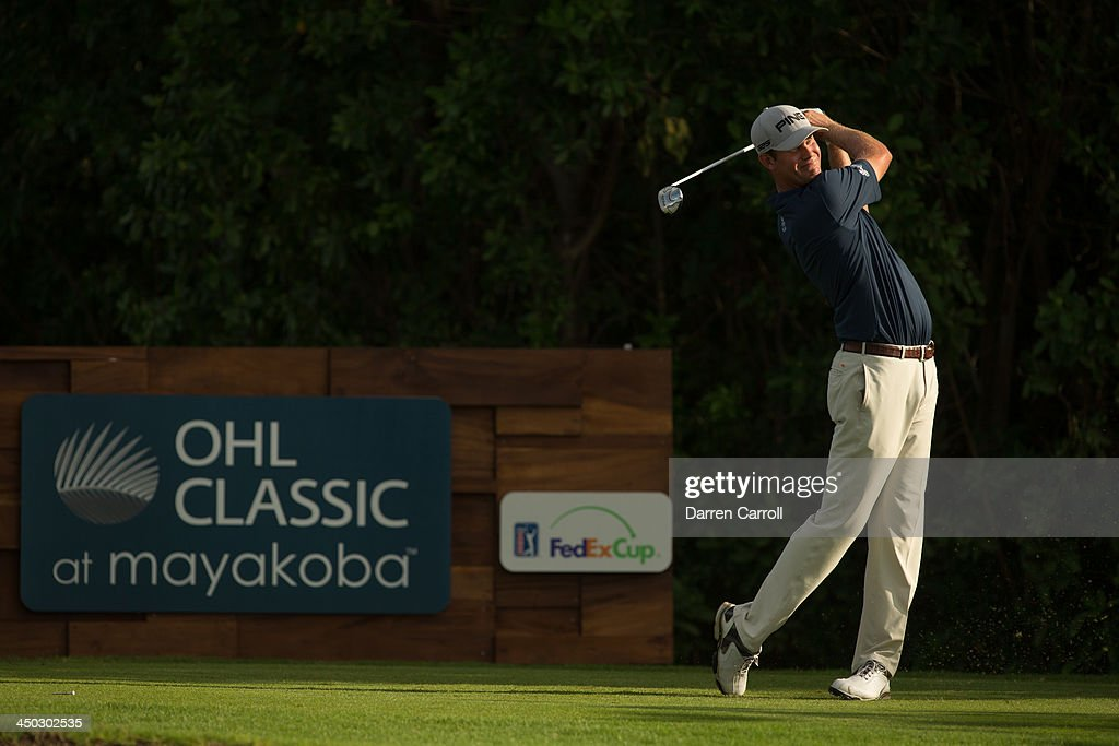 Harris English of the United States plays a tee shot at the 17th hole during the final round of the 2013 OHL Classic at Mayakoba, played at El Camaleon Golf Club on November 17, 2013 in Playa Del Carmen, Mexico.