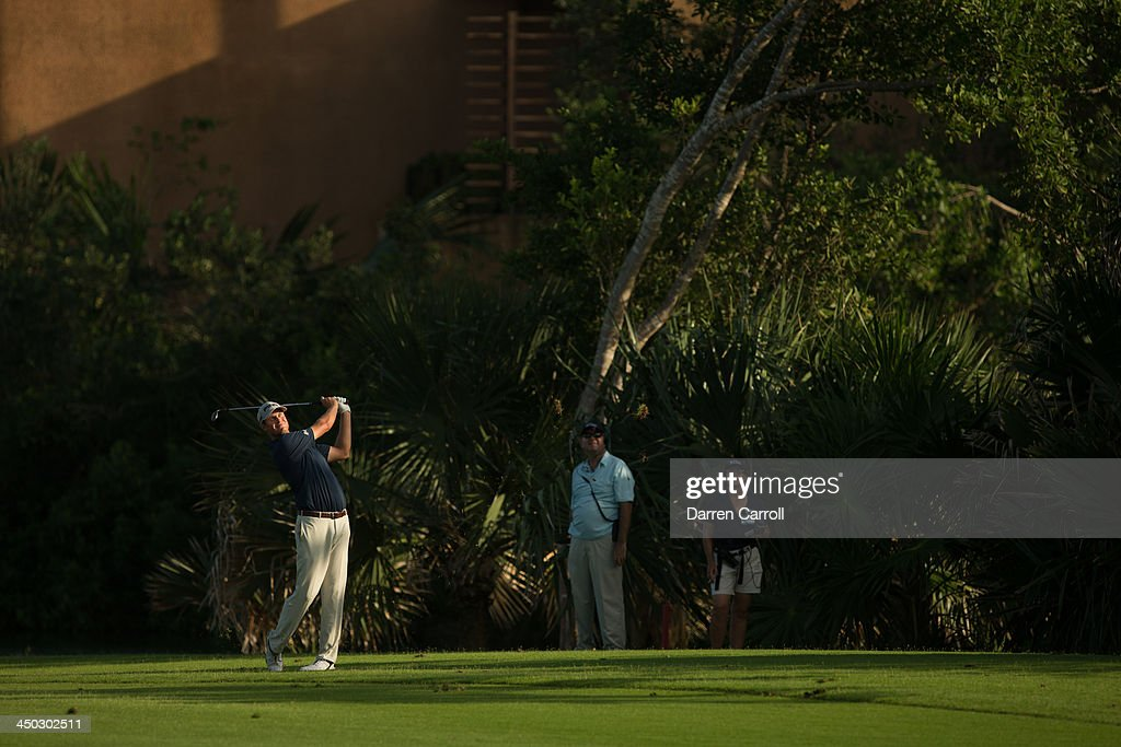 <a gi-track='captionPersonalityLinkClicked' href=/galleries/search?phrase=Harris+English&family=editorial&specificpeople=7754798 ng-click='$event.stopPropagation()'>Harris English</a> of the United States plays an approach shot at the 17th hole during the final round of the 2013 OHL Classic at Mayakoba, played at El Camaleon Golf Club on November 17, 2013 in Playa Del Carmen, Mexico.