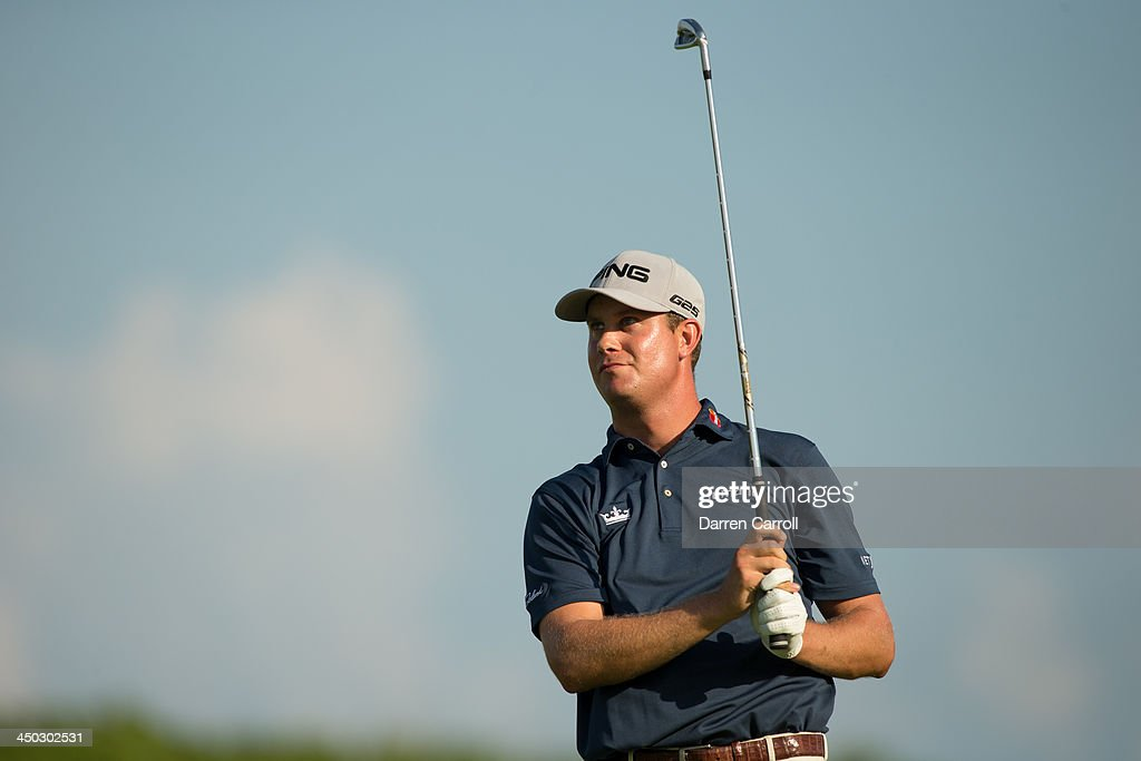 <a gi-track='captionPersonalityLinkClicked' href=/galleries/search?phrase=Harris+English&family=editorial&specificpeople=7754798 ng-click='$event.stopPropagation()'>Harris English</a> of the United States plays an approach shot at the 16th hole during the final round of the 2013 OHL Classic at Mayakoba, played at El Camaleon Golf Club on November 17, 2013 in Playa Del Carmen, Mexico.