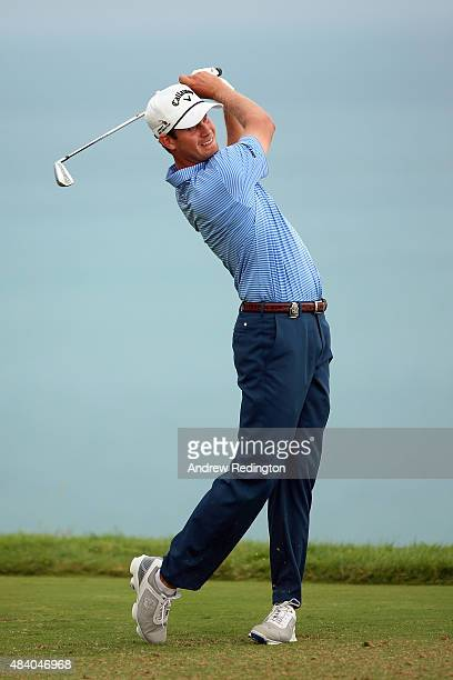Harris English of the United States plays his shot from the third tee during the second round of the 2015 PGA Championship at Whistling Straits on...