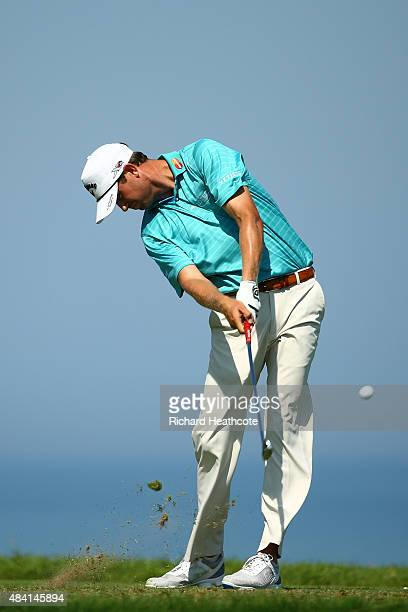 Harris English of the United States plays his shot from the third tee during the third round of the 2015 PGA Championship at Whistling Straits on...
