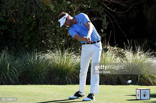 Harris English of the United States plays his shot from the third tee during the third round of the Shriners Hospitals For Children Open on November...