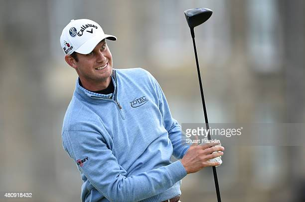 Harris English of the United States tees of on the 2nd hole during the first round of the 144th Open Championship at The Old Course on July 16 2015...