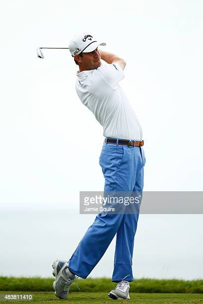 Harris English of the United States watches his tee shot on the third hole during the first round of the 2015 PGA Championship at Whistling Straits...