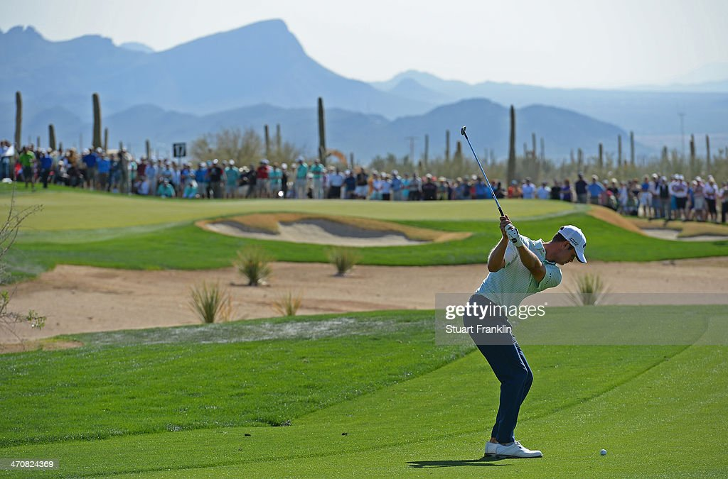 Harris English of USA plays a shot on the 17th hole during the second round of the World Golf Championships - Accenture Match Play Championship at The Golf Club at Dove Mountain on February 20, 2014 in Marana, Arizona.