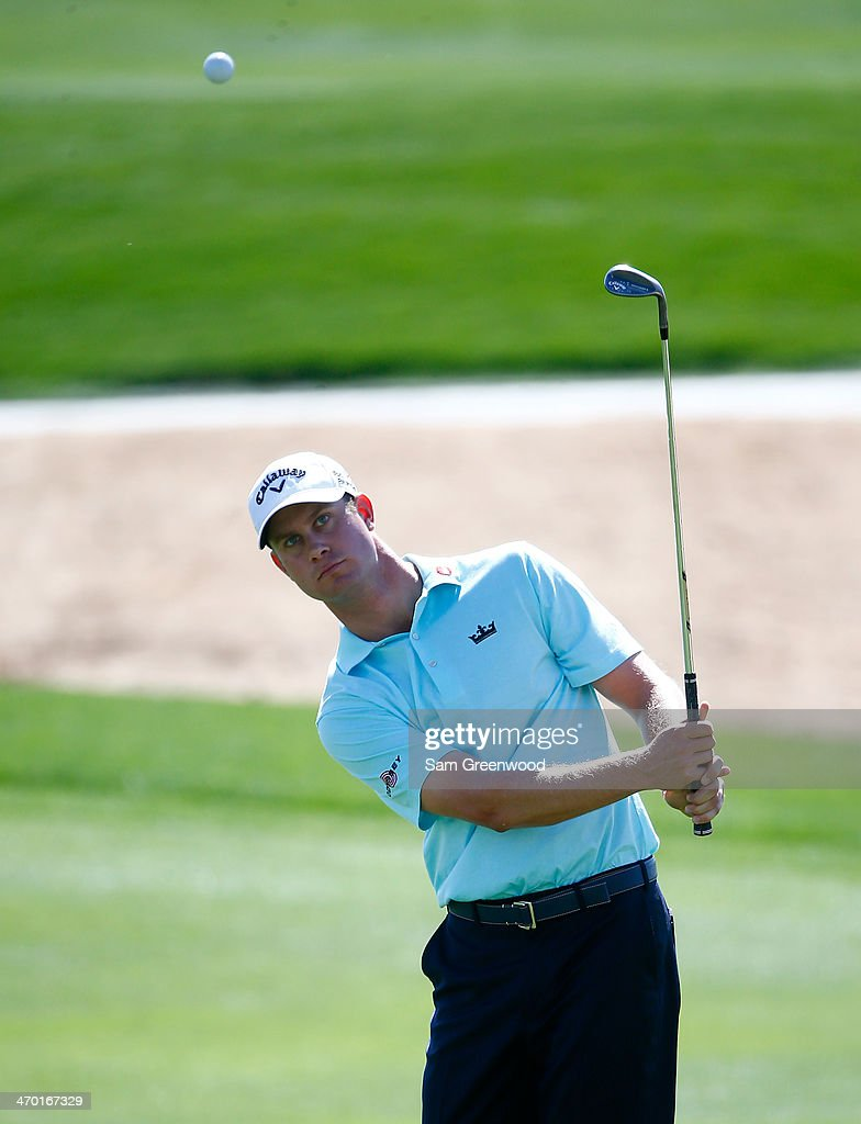 <a gi-track='captionPersonalityLinkClicked' href=/galleries/search?phrase=Harris+English&family=editorial&specificpeople=7754798 ng-click='$event.stopPropagation()'>Harris English</a> plays a shot during a practice round prior to the World Golf Championships-Accenture Match Play Championship at the Golf Club at Dove Mountain on February 18, 2014 in Marana, Arizona.
