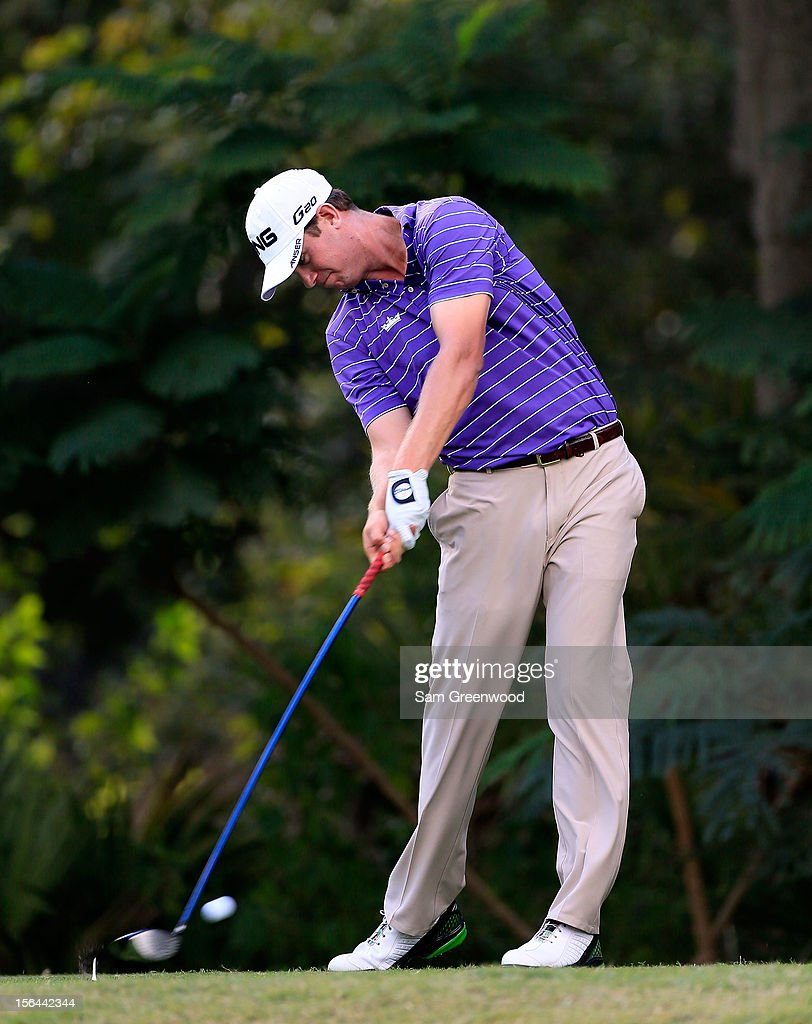 Harris English plays a shot during the third round of the Children's Miracle Network Hospitals Classic at the Disney Magnolia course on November 10, 2012 in Lake Buena Vista, Florida.