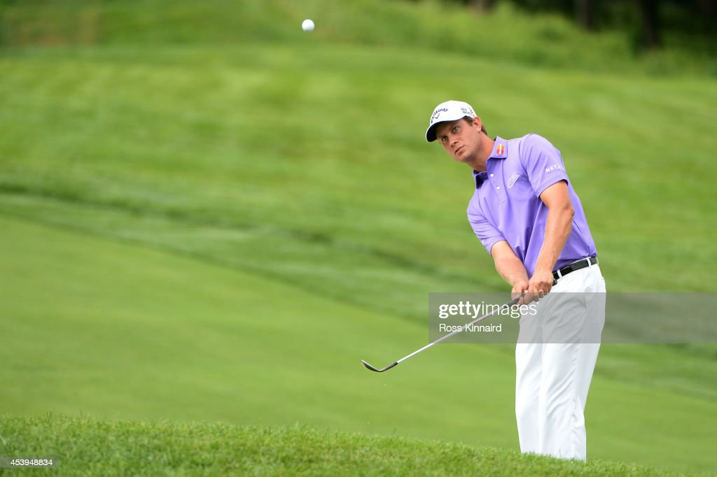 Harris English plays his second shot on the 10th hole during the first round of The Barclays at The Ridgewood Country Club on August 21, 2014 in Paramus, New Jersey.