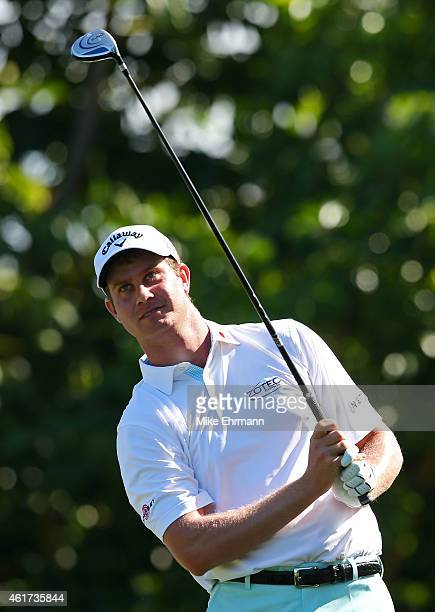 Harris English plays his shot from the fifth tee during the final round of the Sony Open In Hawaii at Waialae Country Club on January 18 2015 in...
