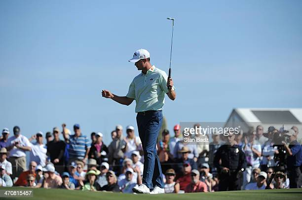 Harris English reacts to his putt on the 17th green during the second round of the World Golf Championships Accenture Match Play Championship at The...