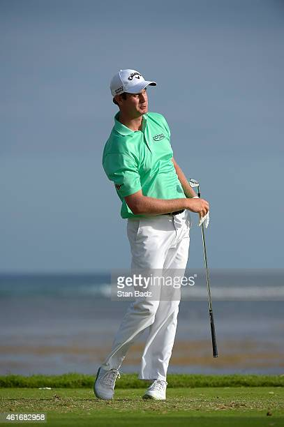 Harris English watches his tee shot on the 17th hole during the second round of the Sony Open in Hawaii at Waialae Country Club on January 16 2015 in...