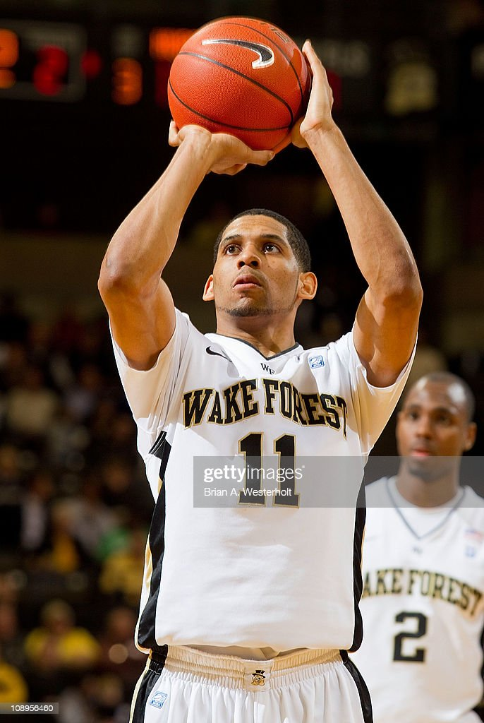 C.J. Harris of the Wake Forest Demon Deacons shoots a free throw, one of the 17 for 18 from the free throw line on his way to a game high 24 points against the Miami Hurricanes at the Lawrence Joel Coliseum on February 9, 2011 in Winston Salem, North Carolina. The Hurricanes defeated the Demon Deacons 74-73.