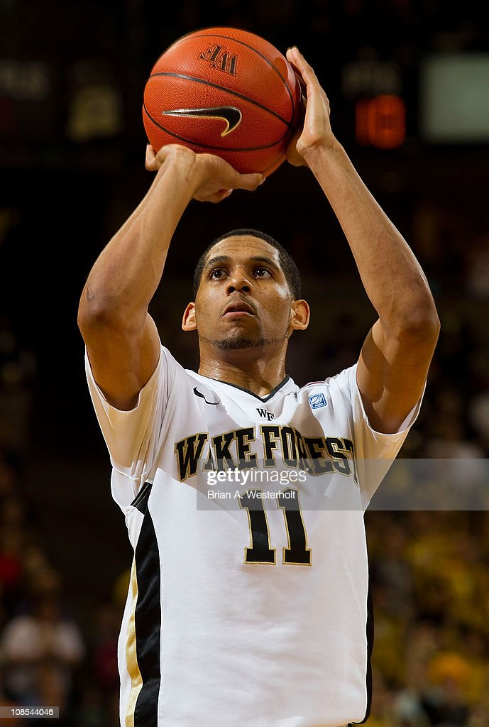 C.J. Harris #11 of the Wake Forest Demon Deacons went 10 for 10 from the free throw line against the Virginia Cavaliers at the Lawrence Joel Coliseum on January 29, 2011 in Winston Salem, North Carolina. The Demon Deacons defeated the Cavaliers 76-71.