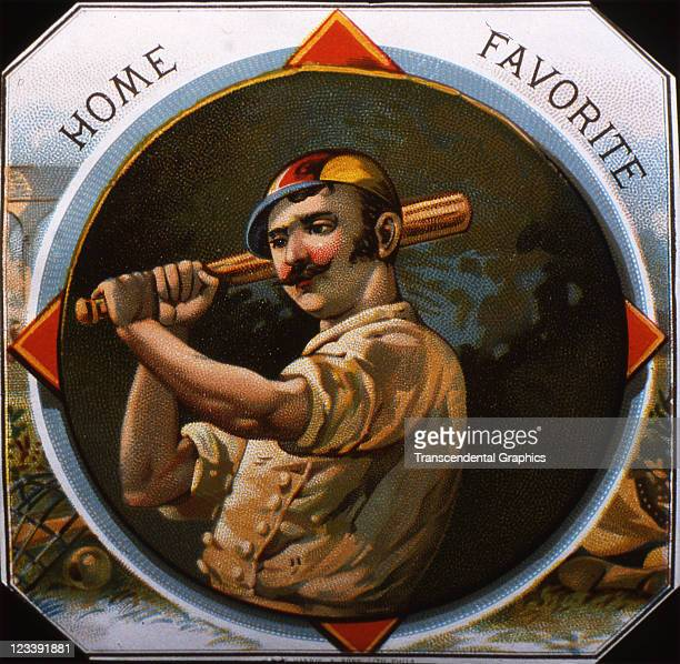 Harris Sons lithographers use a closeup of a baseball batter to decorate the cigar label entitled Home Favorite printed 1880s in Philadelphia...