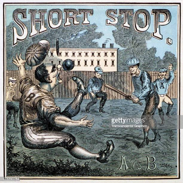 Harris Sons lithographers use a comical baseball scene of an infield mishap to decorate the cigar label entitled Short Stop printed 1880s in...