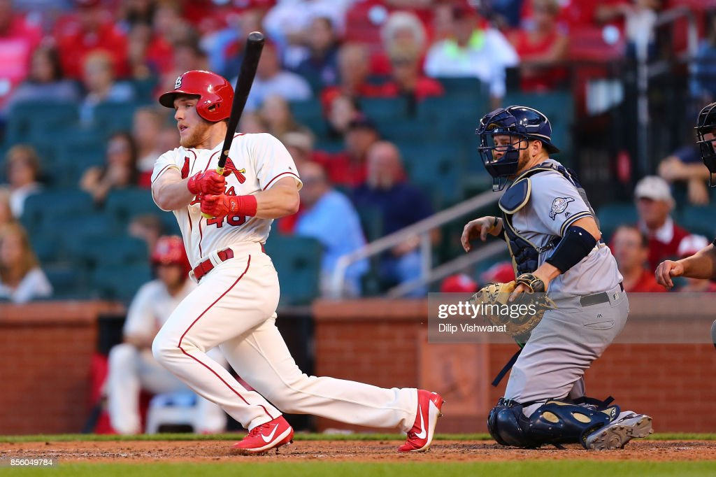 Harrison Bader #48 of the St. Louis Cardinals hits the game-winning double against the Milwaukee Brewers in the eighth inning at Busch Stadium on September 30, 2017 in St. Louis, Missouri.