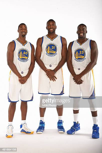 Harrison Barnes Festus Ezeli and Draymond Green of the Golden State Warriors pose for a portrait on September 28 2015 at the Warriors Practice...