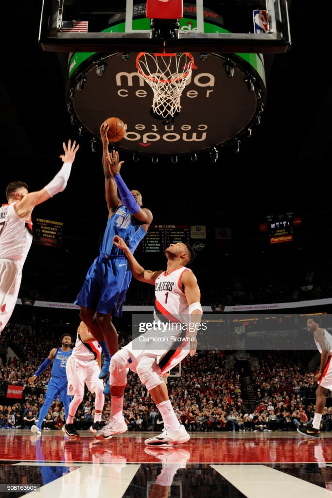 Harrison Barnes #40 of the Dallas Mavericks handles the ball against the Portland Trail Blazers on January 20, 2018 at the Moda Center in Portland, Oregon.