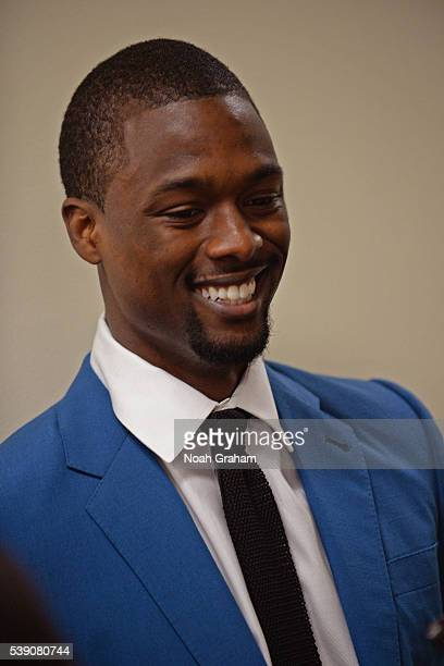 Harrison Barnes of the Golden State Warriors before facing the Cleveland Cavaliers for Game Two of the 2016 NBA Finals on June 5 2016 at ORACLE Arena...