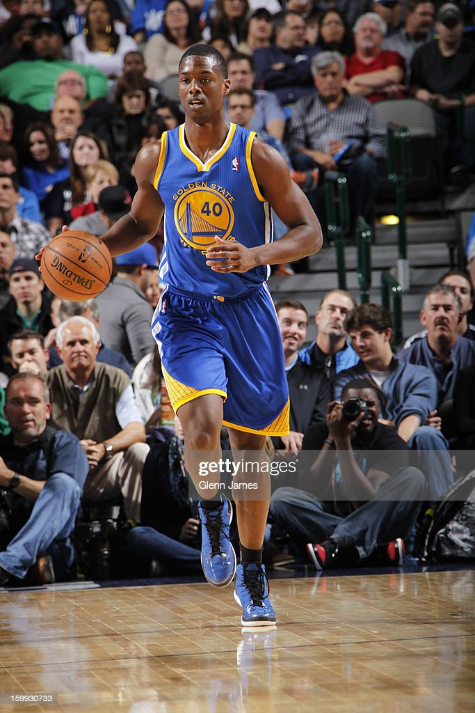 <a gi-track='captionPersonalityLinkClicked' href=/galleries/search?phrase=Harrison+Barnes&family=editorial&specificpeople=6893973 ng-click='$event.stopPropagation()'>Harrison Barnes</a> #40 of the Golden State Warriors brings the ball up court against the Dallas Mavericks on November 19, 2012 at the American Airlines Center in Dallas, Texas.
