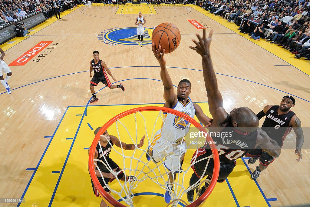 Harrison Barnes #40 of the Golden State Warriors drives to the basket against Joel Anthony #50 of the Miami Heat on January 16, 2013 at Oracle Arena in Oakland, California.