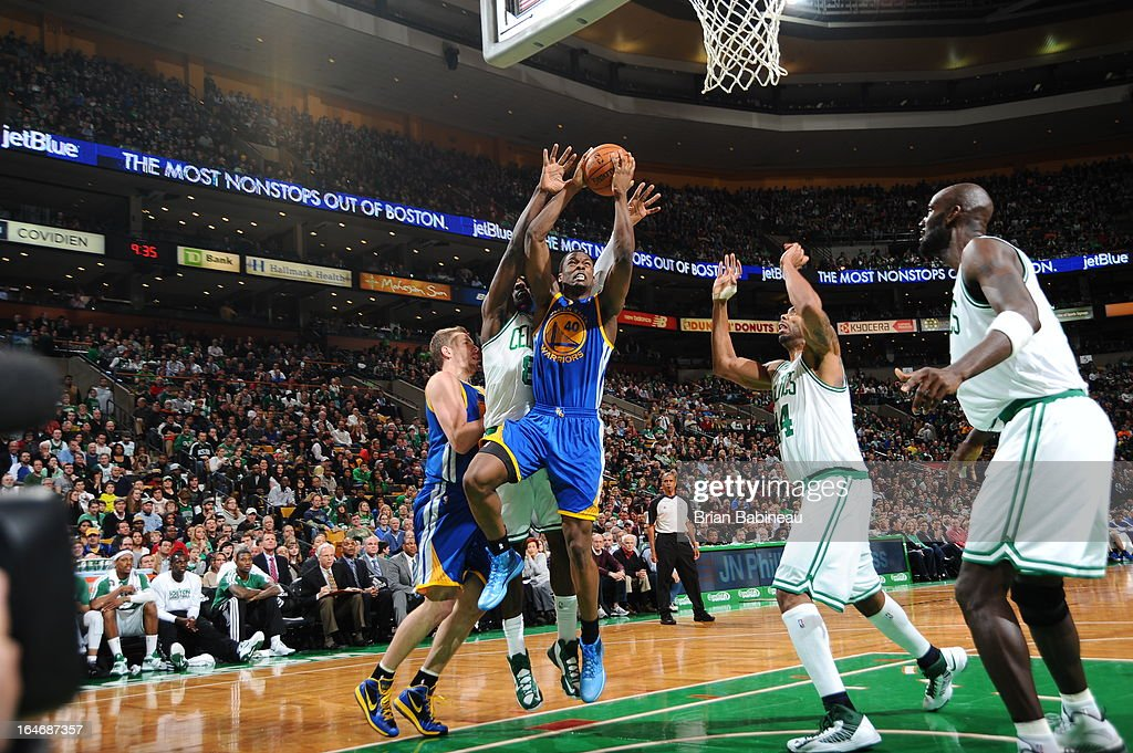 Harrison Barnes #40 of the Golden State Warriors drives to the basket against the Boston Celtics on March 1, 2013 at the TD Garden in Boston, Massachusetts.