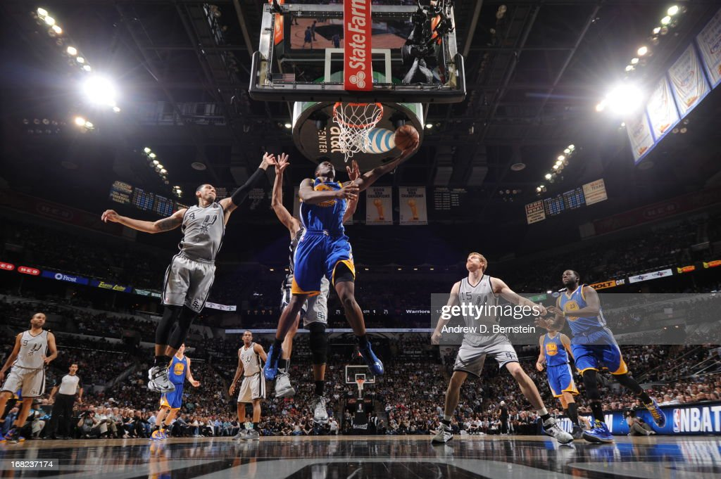 Harrison Barnes #40 of the Golden State Warriors drives to the basket against Danny Green #4 of the San Antonio Spurs in Game One of the Western Conference Semifinals during the 2013 NBA Playoffs on May 6, 2013 at the AT&T Center in San Antonio, Texas.