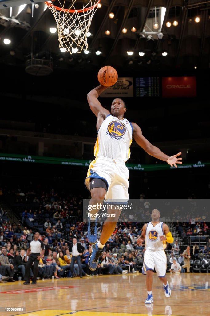 <a gi-track='captionPersonalityLinkClicked' href=/galleries/search?phrase=Harrison+Barnes&family=editorial&specificpeople=6893973 ng-click='$event.stopPropagation()'>Harrison Barnes</a> #40 of the Golden State Warriors dunks against the Maccabi Haifa on October 11, 2012 at Oracle Arena in Oakland, California.