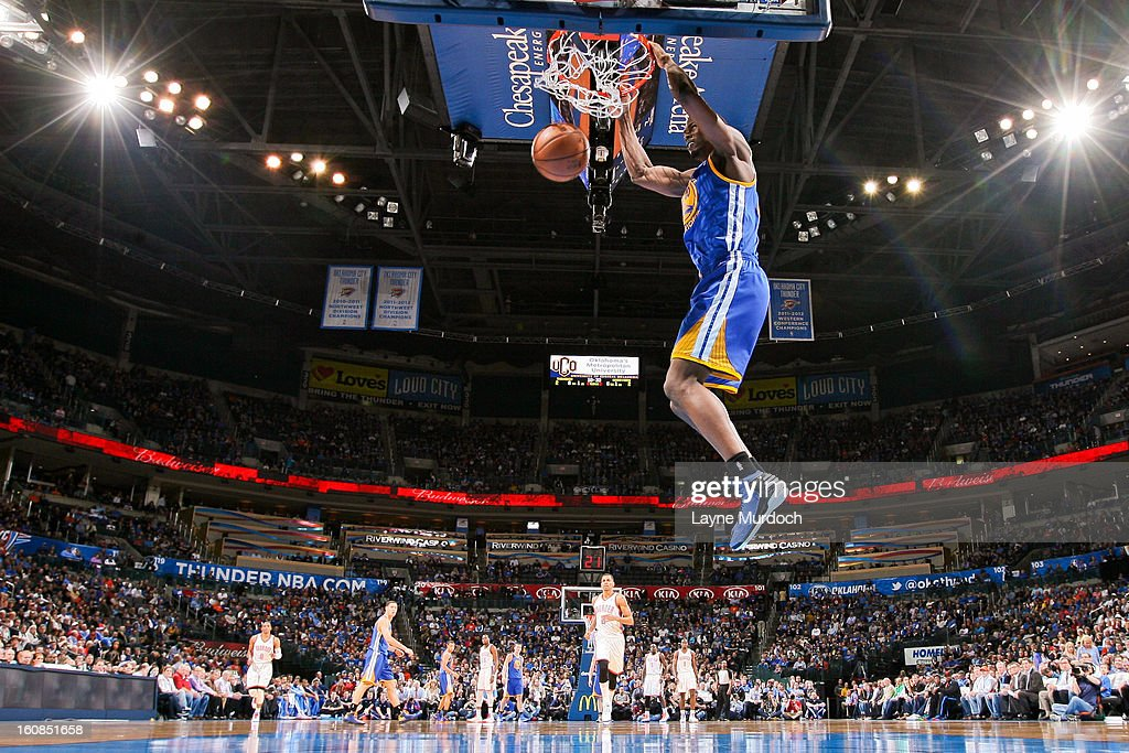 Harrison Barnes #40 of the Golden State Warriors dunks on a fast break against the Oklahoma City Thunder on February 6, 2013 at the Chesapeake Energy Arena in Oklahoma City, Oklahoma.