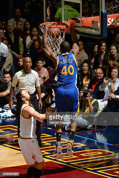 Harrison Barnes of the Golden State Warriors dunks the ball against the Cleveland Cavaliers during the 2016 NBA Finals Game Three on June 8 2016 at...